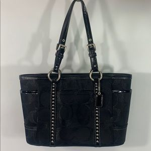 Coach 11505 Gallery black metallic stud tote black